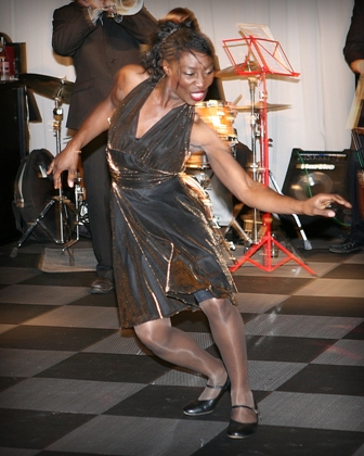 A dancer from the Jiving Lindy Hoppers performing at the Merseyside Maritime Museum