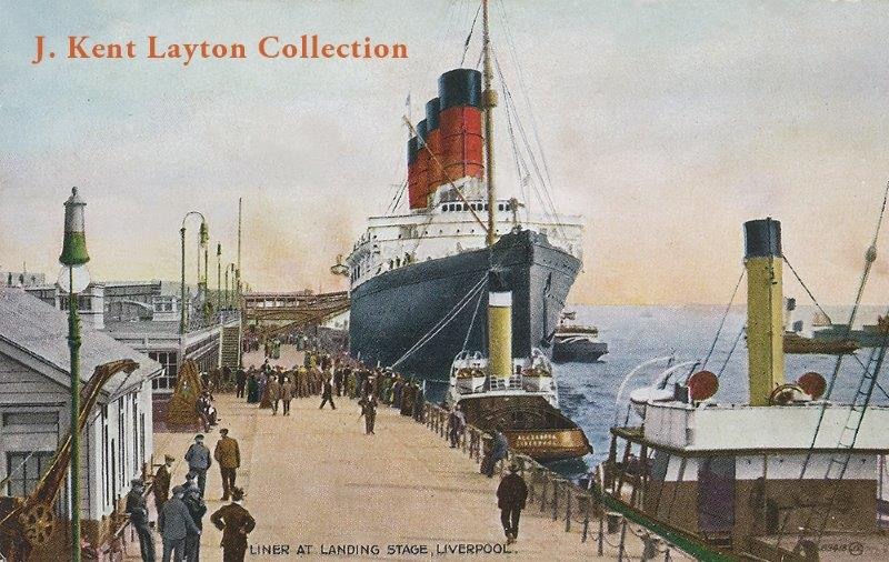 A color portrait of the Lusitania at the Landing Stage in Liverpool. © J Kent Layton Collection