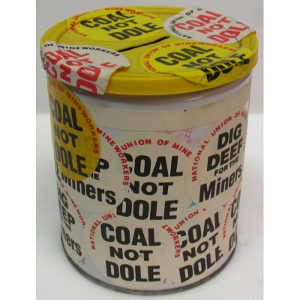 Collecting tin used by the Kirkby Miners' Support Committee