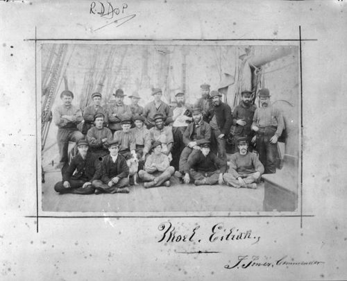 Archive photo of the crew on board a ship, including a Black seafarer