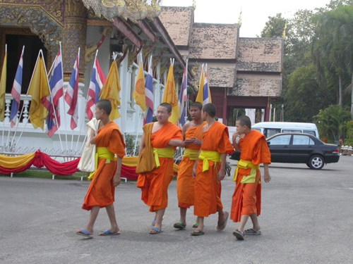 Buddhist monks dress with conformity to help a simple and meditative life