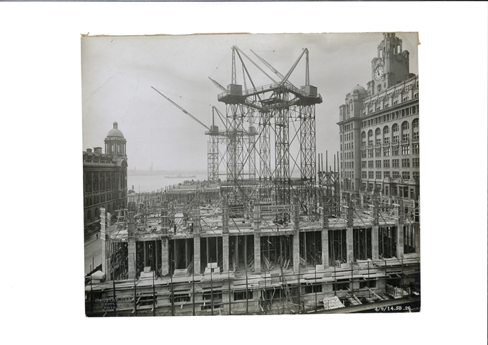 Early Cunard building progress of the lower storeys dated 4 September, 1914. Credit: Courtesy of National Museums Liverpool (Merseyside Maritime Museum)