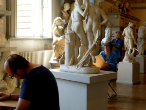 Students at work in the Sculpture Gallery