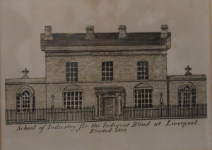 An illustration of the school at its first site on Commutation Row