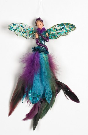 peacock fairy feather glitter decoration