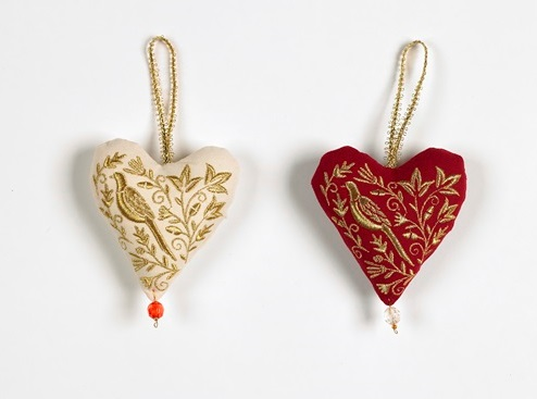 red cream soft heart christmas decoration