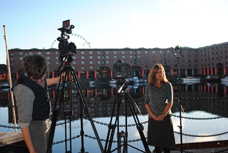 Dr Emily West filming outside the International Slavery Museum