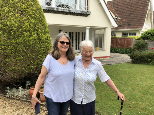 Deborah Heiligman with Sonia Bech Williams, child survivor of the sinking of the City of Benares, outside Sonia's childhood home.