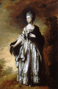 Picture of a woman in an 18th century dress with a shawl over her left shoulder