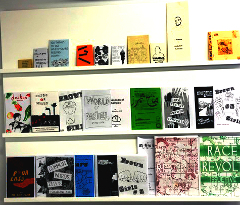 Zines on display in the Journey to Justice exhibition