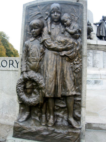 This grouping of children on the memorial is modelled on Lever's grandchildren. The boy to the left (Philip) would grow up to the third and final Lord Leverhulme. Philip maintained the family connection with the Lady Lever Art Gallery throughout his life.