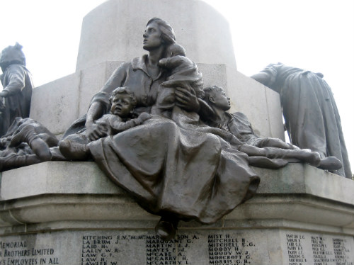 Bronze figures of a mother and children on the Port Sunlight War Memorial.