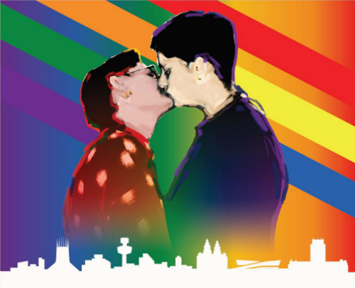 Image ow two women kissing, with a Liverpool skyline underneath them and a rainbow in the background.