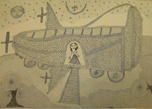 Ink drawing of a woman in a sari standing inside a spaceship