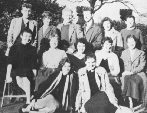 Young people in black and white photograph