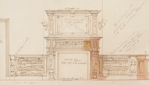 Design for bookcases and fireplace of Sudley House, circa 1882