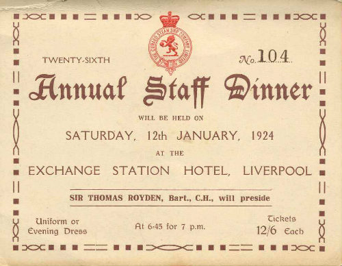 Image of a ticket for a Cunard Staff Dinner, Liverpool, 1924