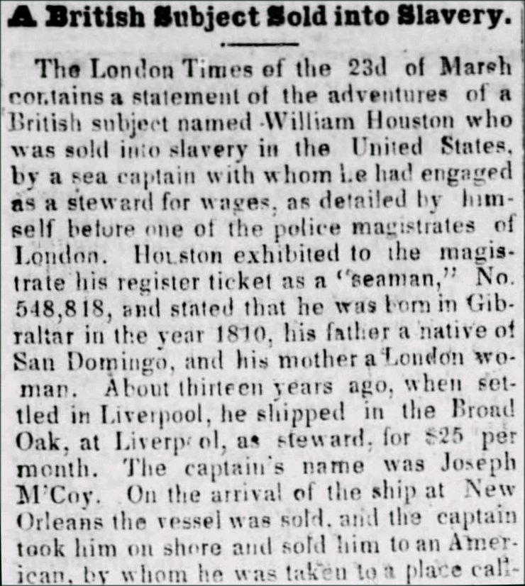 Newspaper clip about William Houston from the Lebanon Courier, Lebanon, Pennsylvania, 16 April 1852.