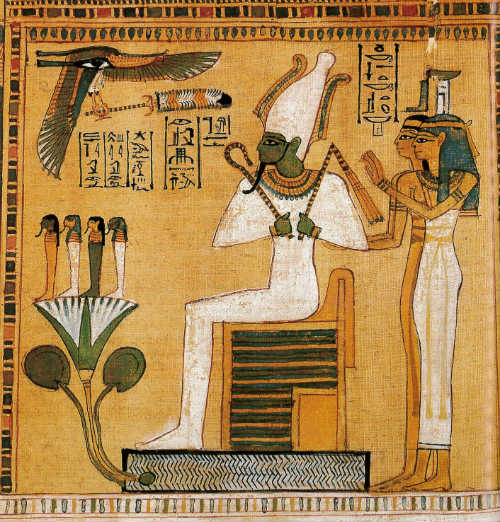 Osiris ruler of the underworld attended by Isis and Nephtys