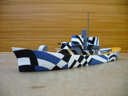 Finished Dazzle painted ship model