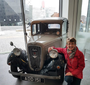 Beryl Hindley standing next to Austin 7 in April 2018.