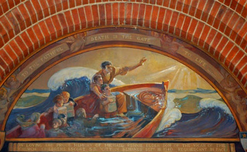 Mural showing Michael Rennie, children's escort in the lifeboat with child from the City of Benares. Copyright The Parish Church of St Jude-on-the-Hill, Hampstead Garden Suburb.