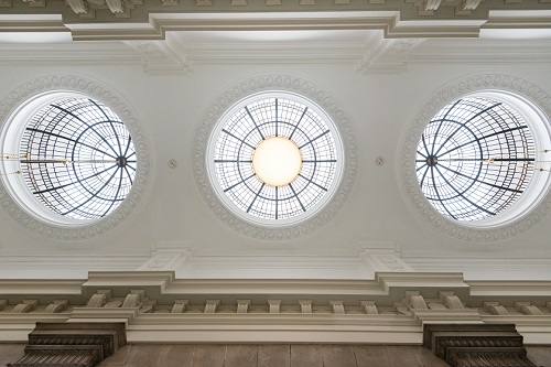 Restored ceiling light domes, South Vestibule copyright Pete Carr