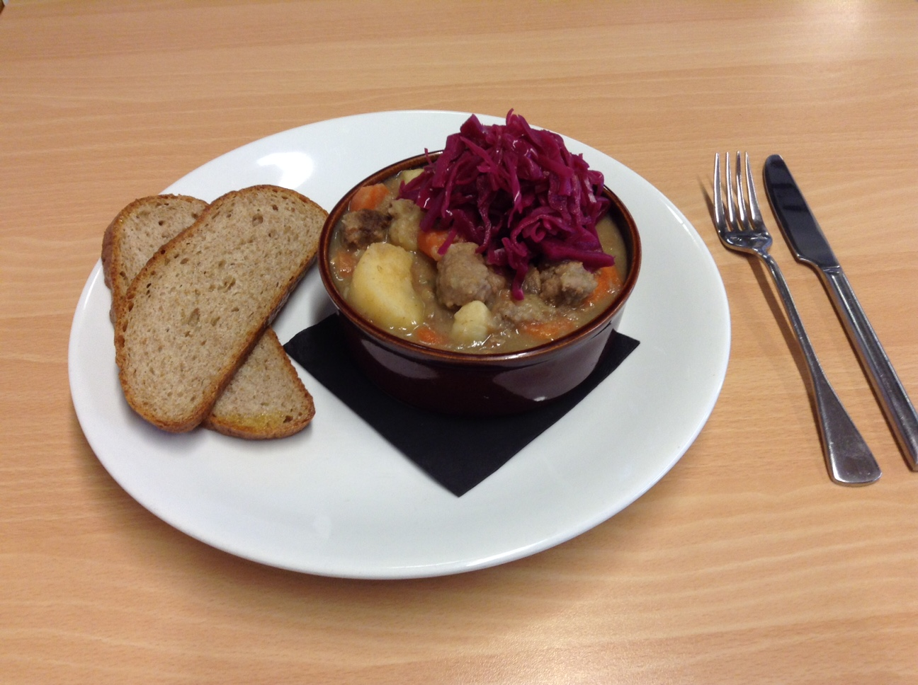Scouse served at the maritime dining room with red cabbage