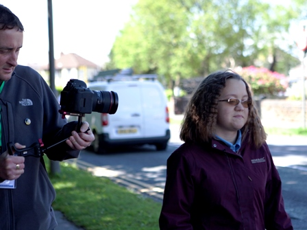 Marcia (pupil at St Vincent's school), during the filming of her journey for Ticket to Ride with film maker Paul McCann.