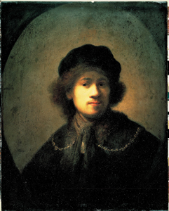 Self portrait of Rembrandt with light falling over the left side of his face