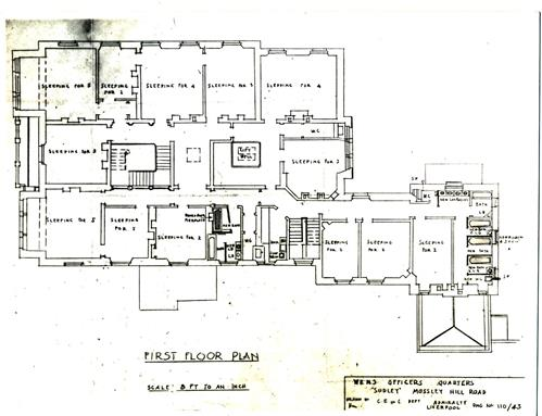 Plan of the first floor of Sudley House in 1943