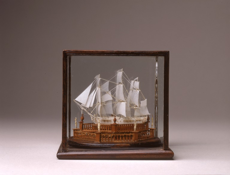 The smallest ship model in our collection on display.