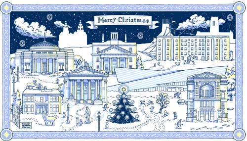 advent calendar illustration of a winter scene with Liverpool landmarks