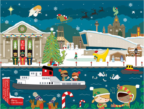 cartoon style illustration of a Christmas scene with Liverpool landmarks