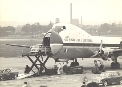mini being loaded onto aer lingus aeroplane at speke airport