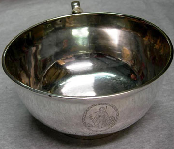 Engraved silver bowl