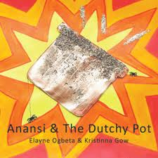 illustration on book cover of Anansi the spider and its dutchy pot