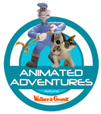 logo featuring a plasticine man and dog and the words 'Animated Adventures'