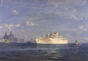 painting of large ship by the iconic Pier Head buildings