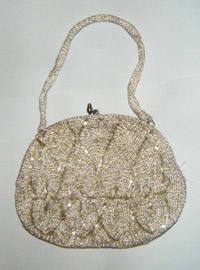 Silver beaded evening bag