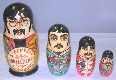 Beatles Russian nesting dolls in Sgt Pepper outfits