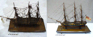 Ship model before and after treatment