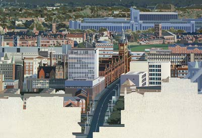 a highly detailed painted image of Liverpool buildings