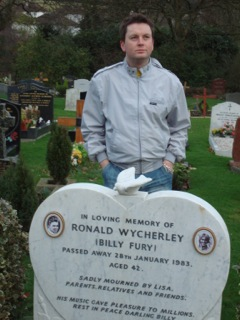 Young man stood by grave of Billy Fury