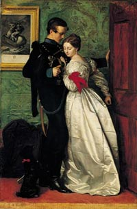 painting of a man in uniform comforting a woman