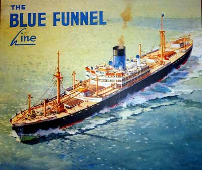 colour poster showing an illustration of a large ship with the words 'Blue Funnel Line'