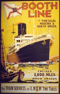 Illustration of a cruise liner which reads: Booth Line to Portugal, Madeira and North Brazil. Cruises 1,000 miles of the River Amazon. For train services, see LNER time tables.