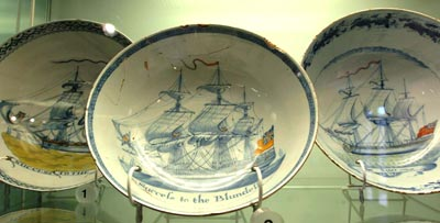 photo of three bowls featuring sailing ships
