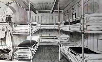 black and white illustration of a basic cabin with three sets of bunk beds