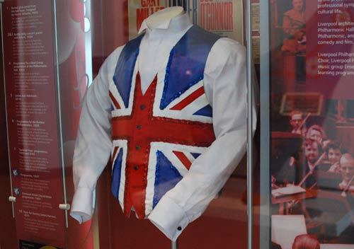 Union Jack waistcoat in museum display